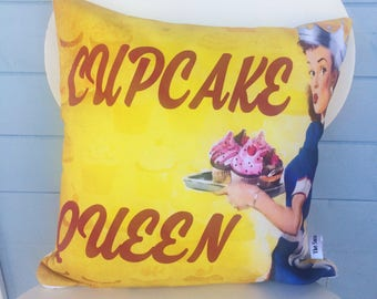 Cupcake Queen cushion, Cupcake Pillow, Cake Lover Gift, mom gift, Mothers day Christmas gift, vintage pinup gift