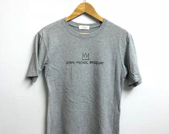Rare!! JEAN MICHEL BASQUIAT tshirt big logo spell out hip hop swag grey colour small size