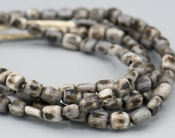 "50 Grey Brown Massai African Bone Trade Beads 10x12x5mm 22"" Strand"