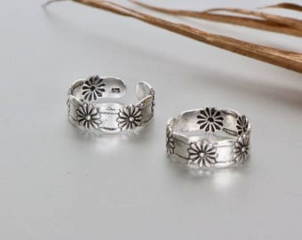 Sterling Silver Toe Ring, Flower Toe Ring, Free Size Toe Ring, Simple Toe Rings, Gift For Her, Bohemian Toe Ring, Minimal Toe Band (TS74)