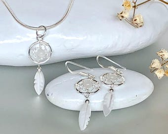 Silver Dream Catcher Set, Sterling Silver Pendant And Earrings Set, Gift Set For Goodluck, Silver Necklace, Silver Chain (P127/E199)