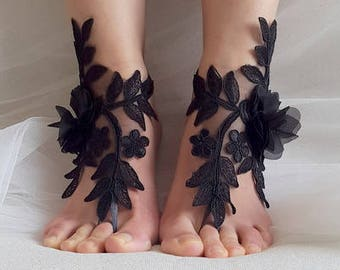 barefoot sandals,flowers,black,  french lace,Barefoot sandals, wedding sandals,costume accessories, free shipping!