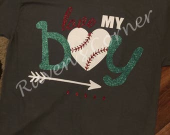 Love My Boy Baseball T-Shirt