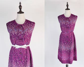 Floral Print Ascot Collar Sleeveless Violet Vintage Women Dress Size M
