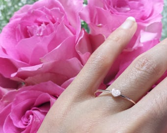 Solid 14kt rose gold heart ring white gold Initial Ring Engraved ring letter alphabet stackable stacking Solid 14kt yellow gold heart ring