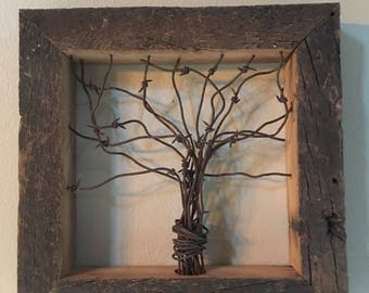 Barbwire and Barnwood Tree Art