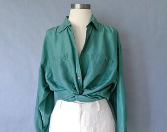 vintage silk blouse/ minimalist silk top/ silk shirt/ 80s silk top/ green women's size M/L