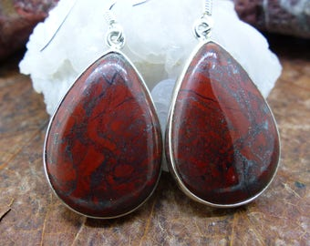 Beautiful Large drop earrings Scottish Red Jasper set in sterling silver, Free WORLDWIDE DELIVERY & RETURNS, Two Skies (8013)