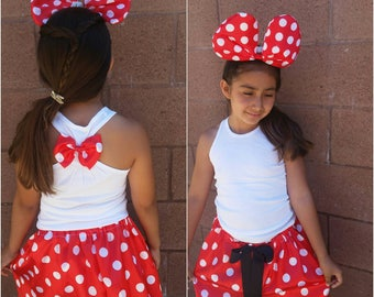 Red minnie mouse skirt set, LIGHTUP big bow headband,  minnie mouse skirt