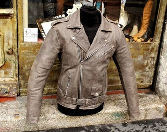 Aged brown leather nail marlon brando jacket sz M