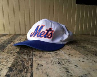 Vintage Mets New York NY MLB Snap Back Hat  Green Underbill