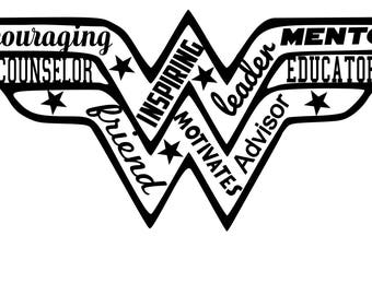 SVG Cut File Wonder Woman Counselor  for Tshirt -Tote- Silhouette- SVG- dxf-png-pdf-  DIY Gift Scrapbooking