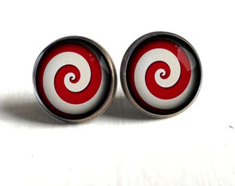 Red Spiral Earrings