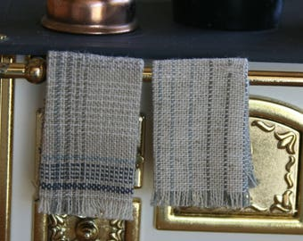 dollhouse tea towels, miniature kitchen cloths, folded, blue, taupe and beige, modern dollhouse, 1:12 scale