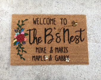 Rectangle Floral | Personalized Doormat | Free-hand Painted Doormat