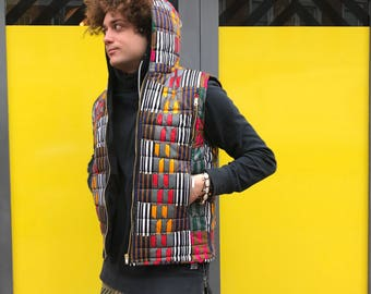 African Body Warmer African Print Jacket African Vest African Clothing African Gilet Padded Jacket Festival Clothing