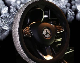 Super Lovely Luxury Fancy Bling Diamond Crystal Rhinestone Car Steering Wheel (38CM) Cover w PU Leather Perfect Gift, Driver, Special