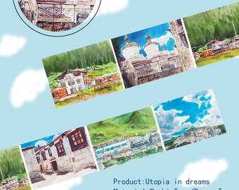 Landscape Washi Tape Utopia in dreams,scrapbooking stickers,DiY,Paper Decorative masking Tape