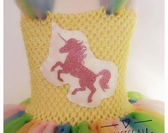 Unicorn Tutu Dress - Pastel Unicorn Outfit - Birthday Dress - Smash Cake set - Pageant Gala Tutu - Dressing Up Costume- Rainbow Tutu Outfit