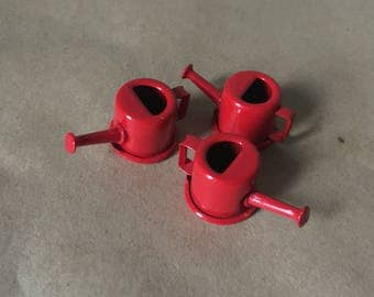 Miniature Red Enameled Watering Cans Set of Three
