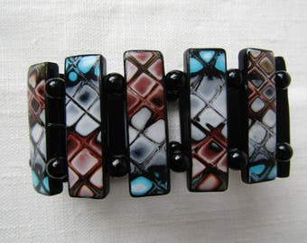 Plate bracelet with polymer clay