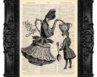 Alice In Wonderland, Tea Time With Alice, Art Print Vintage, Vintage Alice Decor Wonderland Decor,  Lewis Carroll, Girl Birthday Poster, 139