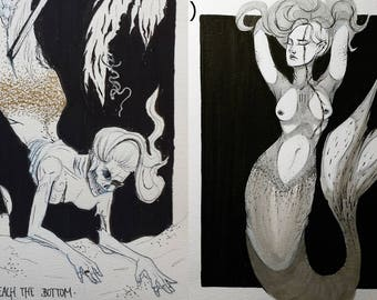 Original Illustrations. Mermaids.