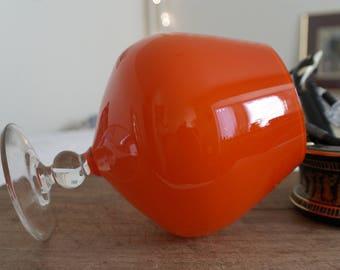 Italian Modernist Encased Glass Vase in the shape of a Hand Blown Bright Orange 'Pop Art' Cognac Balloon Glass