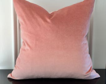 20 x 20 double sided blush pink velvet designer pillow cover, Schumacher fabric, velvet cushion, home decor, decorative pillow cover