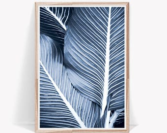 Navy Blue Leaf Print, Leaves Print, Tropical Leaf Print, Modern Leaf Art, Wall Art Decor, Tropical Prints, Navy Blue Prints, Leaf Wall Decor