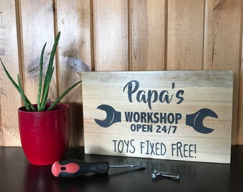 Papas Workshop | Fathers Day | Dad | Grandpa | Papa | gift from kids | garage sign | personlized Father's Day | birthday gift for dad