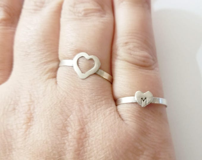 Customized Sterling Silver Heart Rings, Mother Daughter Rings, Best Friend Jewelry, Sterling Silver Rings, Gift for Her