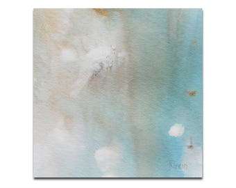 """Blue Abstract Original Painting, 5""""x5"""" Small Painting, Mint, Original Artwork, Home Decor, Wall Art, Acrylic Painting, Christmas Gift"""