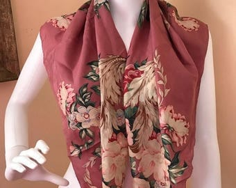 "SALE Vintage Silk Lage Scarf in Beautiful Flowers and Colors / 35"" Square"