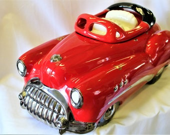 Vintage Glenn Appleman 1981 Signed & Dated 1950's RED BUICK CONVERTIBLE Cookie Jar, Highly Collectible Sought After Automobile Lovers Item
