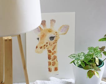 Giraffe print, giraffe art, nursery art, wall art, baby shower gift, nursery decor
