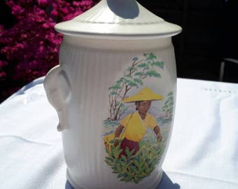 Sylvac Elephant Handle Tea Caddy 1950s -No 3372