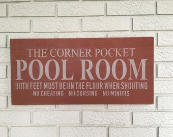 Corner Pocket Pool Room, Game Room Decor, Man Cave Sign, Pool Room Wall Art, Corner Pocket Wood Sign, Rustic Wall Decor, Farmhouse Style Art