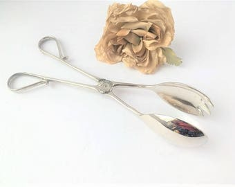 Vintage Silver Salad Tongs / Silver Plate Salad Tongs / Tupperware Serving Tongs / Silver Tongs / Vintage Serving / Silver Serving Tongs