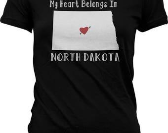 My Heart Belongs in North Dakota Juniors T-shirt, NOFO_01077