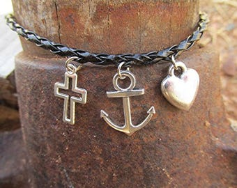Faith hope and love bracelet braided leather bracelet leather charm bracelet cross anchor heart vegan grunge bracelet gift.