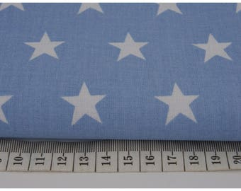 100% cotton fabric half a metre (50 x 160 cm), 100% cotton star 20mm on a blue background