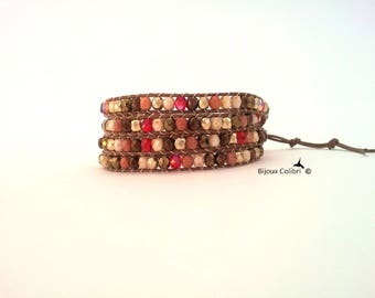 Trendy wrap, Bohemian crystal and leather bracelet