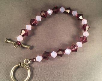Purple and opaque lavendar swarovski crystal bracelet 020