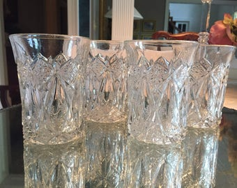 Set of 4 Vintage Pressed Glass TUMBLERS, WATER GLASSES, barware, clear bright beautiful antique crystal!