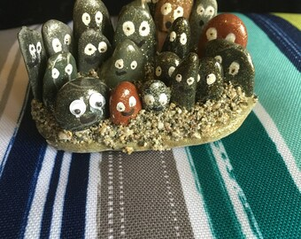 Handmade glitter Rock people display