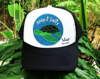Keep it Salty Hawaiian Sea Turtle Trucker Hat / cap, mesh, Christian hat, Christian apparel, women's hat, women's trucker hat, Summer Hat