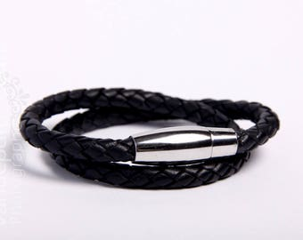 Double black bracelet of genuine leather with stainless steel magnetic clasp