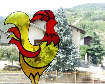 Rooster cockerel suncather glass acchiappasole