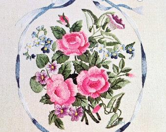 Elsa Williams ROSES & MORNING GLORIES Vtg Crewel Embroidery Kit Bouquet Ribbon